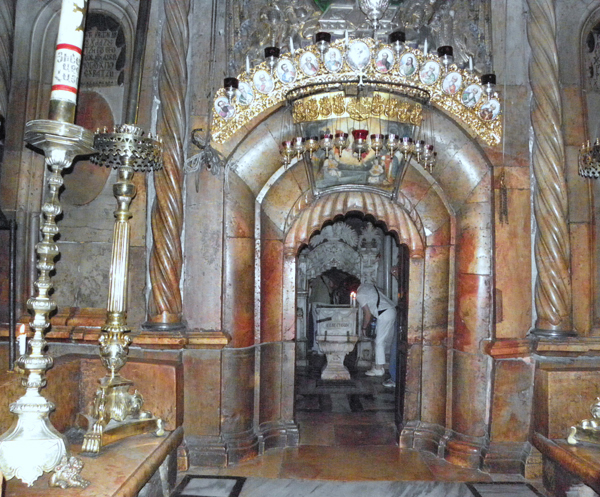 the tomb of Jesus in the Holy Sepulchre Church, Jerusalem