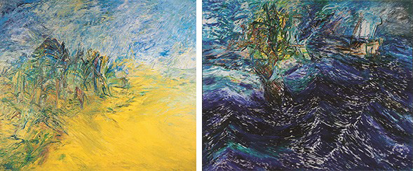 From the Mehmet Güleryüz retrospective, through June 28, 2015 left: Counter Wind Series No. 15, 1993-94; right: The Seaman, 1988