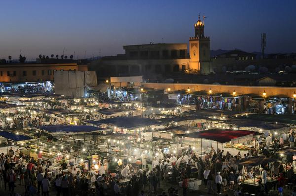 food stalls, Jemaa el Fna Square, Marrakech, Morocco