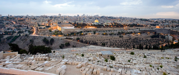 Looking out at Jerusalem's Old City from the Mount of Olives, with the ancient Jewish cemetery in the foreground.