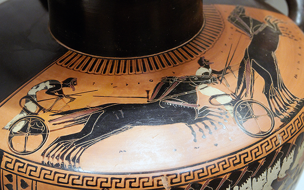 Chariot racing on a black-figure hydria from Attica, ca. 510 BC