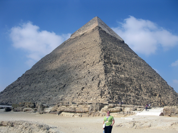 a Ya'lla traveler at the Pyramid of Khafre