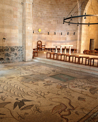 Church of the Multiplication at Tabgha, the loaves and fishes mosaic is immediately in front of the alter