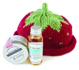 Baby gift set, with hand-knit cap and Soft Bottom Balm and Olive Oil liquid soap, available at Two Blooms Design Studio's Etsy shop. $44