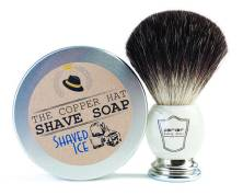 Parker Faux Marble Black Badger shaving brush ($40) and The Copper Hat shave soap ($12), available at The Copper Hat.