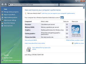 WEI - Windows Experience Index