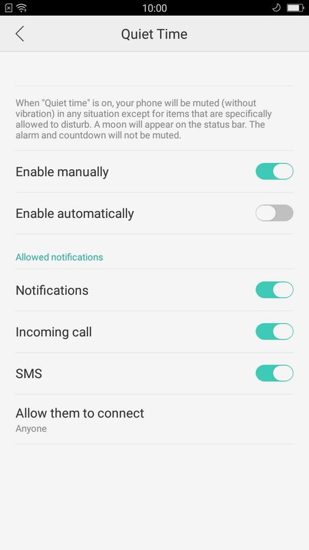 Oppo F1s Quiet Time