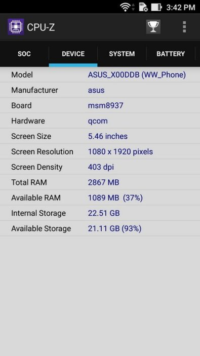 Asus ZenFone 3 Max ZC553KL CPU Z (3)