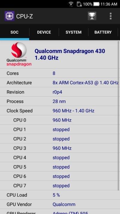 Asus ZenFone 4 Selfie CPU Z (2)