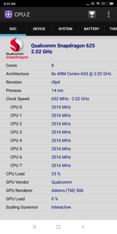 Xiaomi Redmi 5 Plus CPU Z (2)