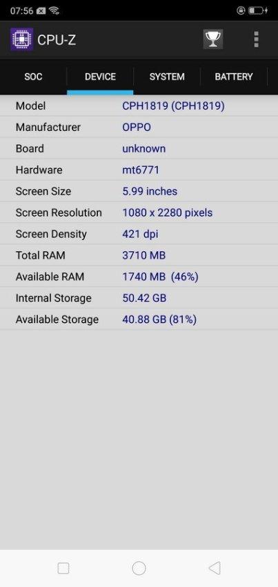 Oppo F7 CPU Z (2)