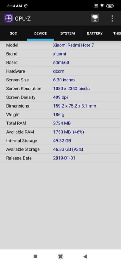 Redmi Note 7 CPU Z (2)