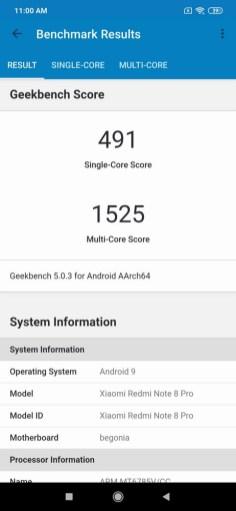 Redmi Note 8 Pro Geekbench