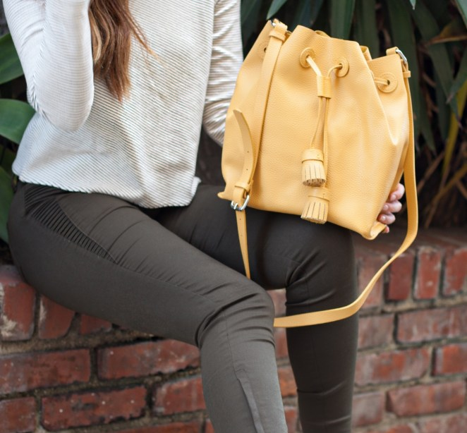 Zara - Yellow Tasselled Bucket Bag