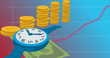 a money and watch illustration