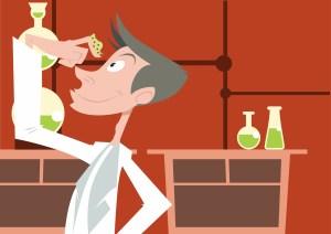 scientist illustration in a lab