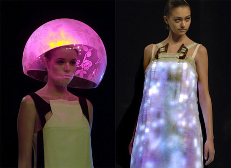 dress and bowl hat with embedded LEDs