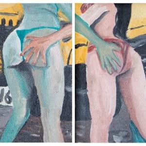 """Best friends ever, separated in teh name of art"". Óleo sobre lienzo. 12 x 20 cm"