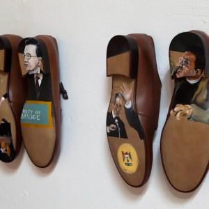 """Detalle de """"Shoe venir"""" 2. Óleo sobre zapatos talla 44. Presentado en SUMMA 2015"""