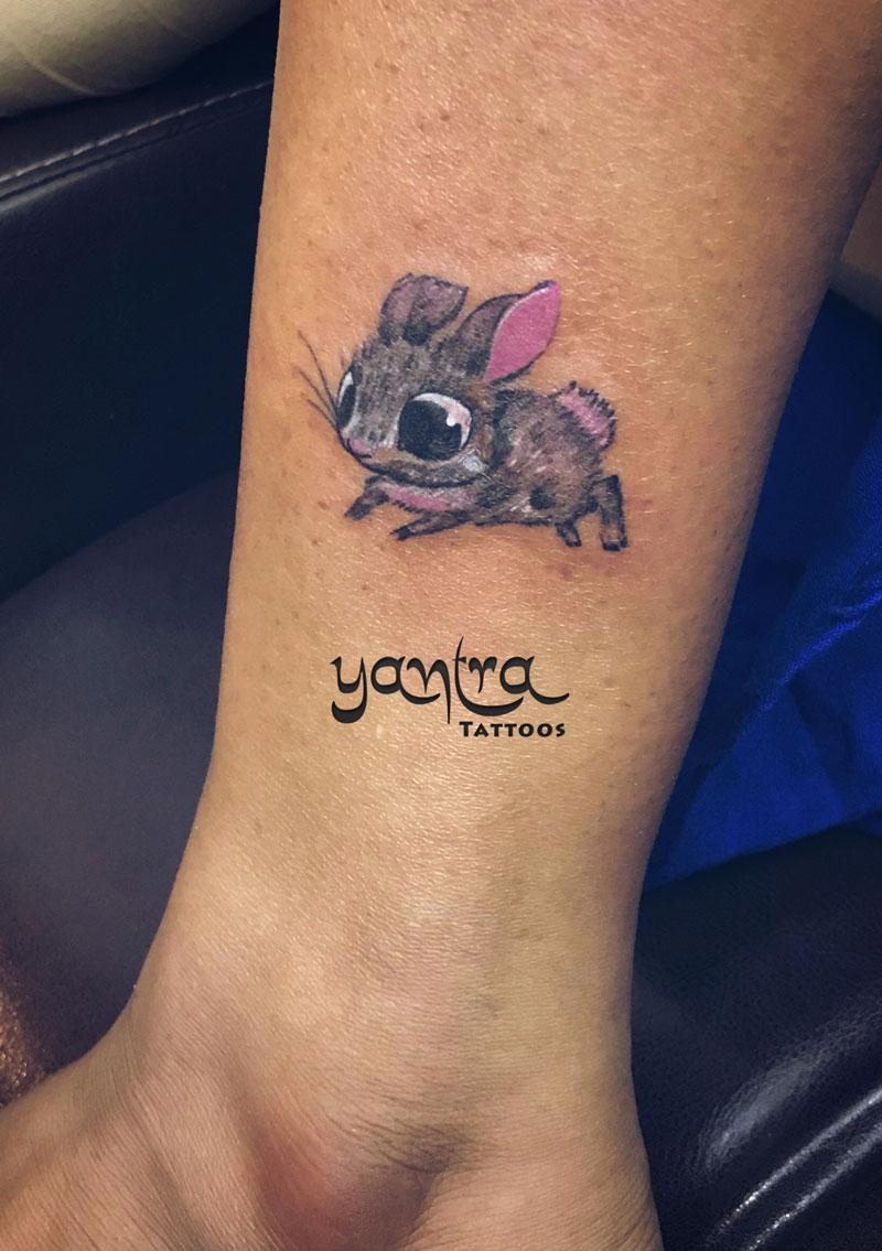 ankle rabbit yantra tattoos chennai inked girls