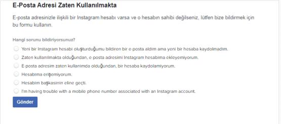 instagram E-Posta Adresi Zaten Kullanılmakta, instagram müşteri hizmetleri, instagram e posta sorunu,
