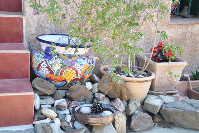 Des pots de fleurs colorés à Collioure, ville des Pyrénées Orientales
