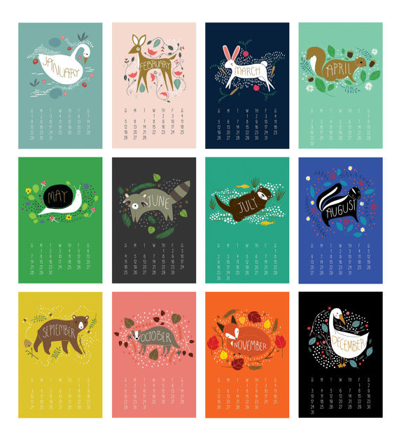 Calendrier 2017 - Illustrations avec des animaux par Gingiber, une créatrice américaine!