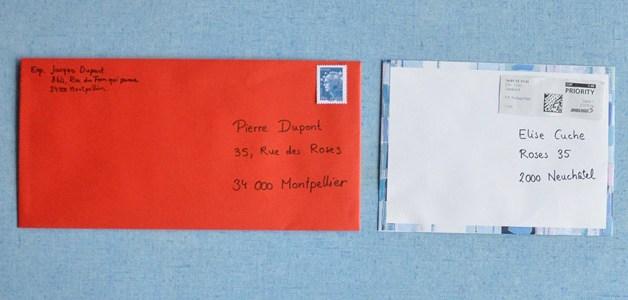 enveloppe suisse et france