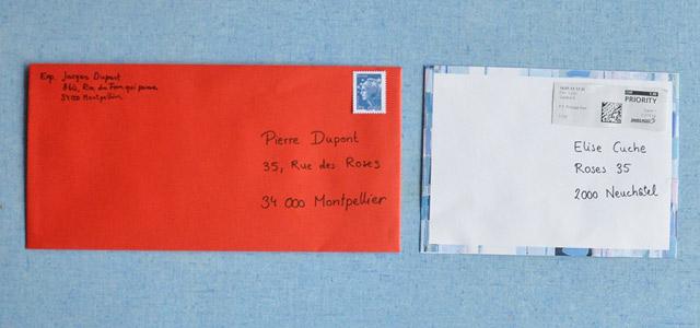 lettre enveloppe suisse et france