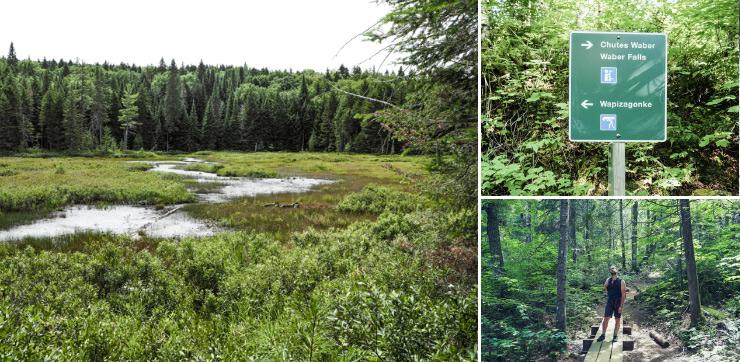Idée de voyage au Québec. Rando vers les chutes Waber au parc de la Mauricie