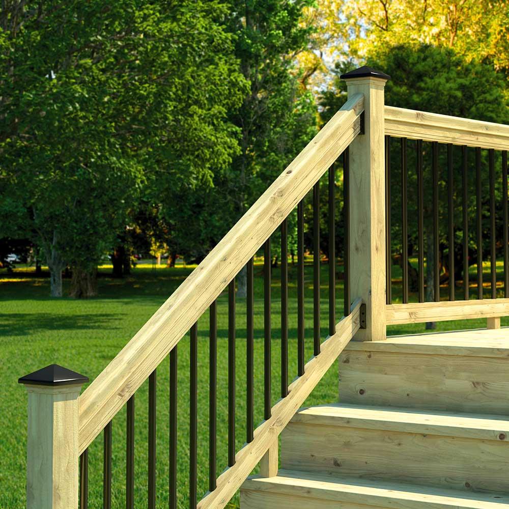 pressure treated outdoor wood stair railing
