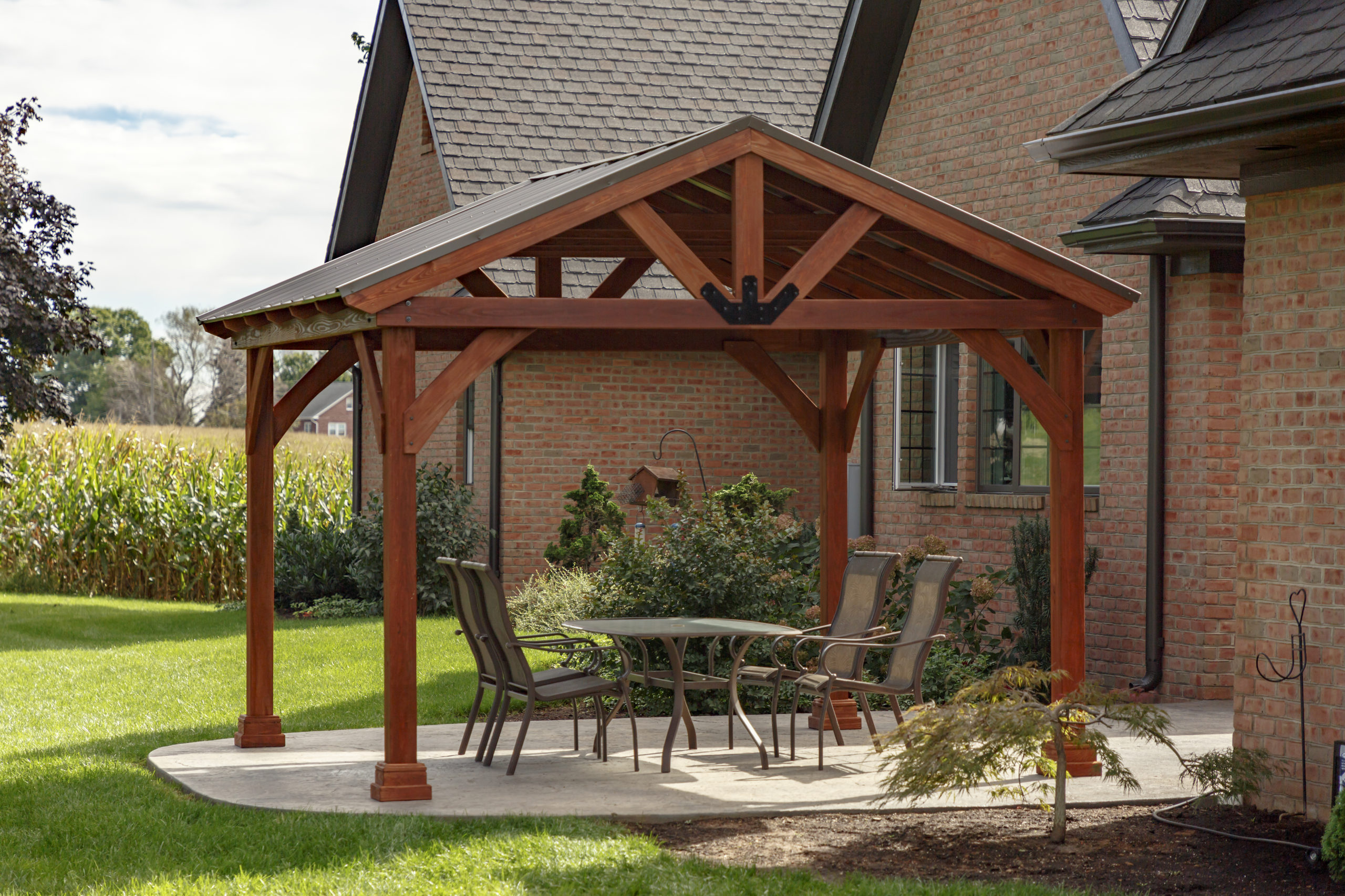 12x12 backyard wood pavilion kit canyon brown yardcraft