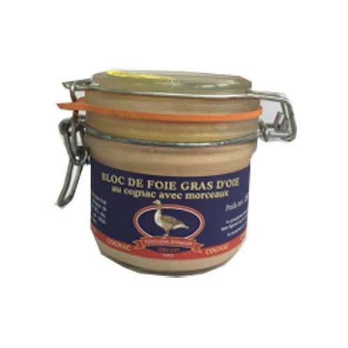 Bloc foie gras oie morceaux sautgernes verrine