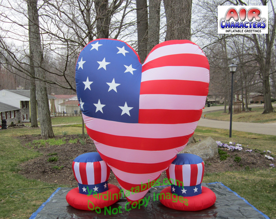 Air Blown Inflatable Patriotic Heart With 2 Small Hats