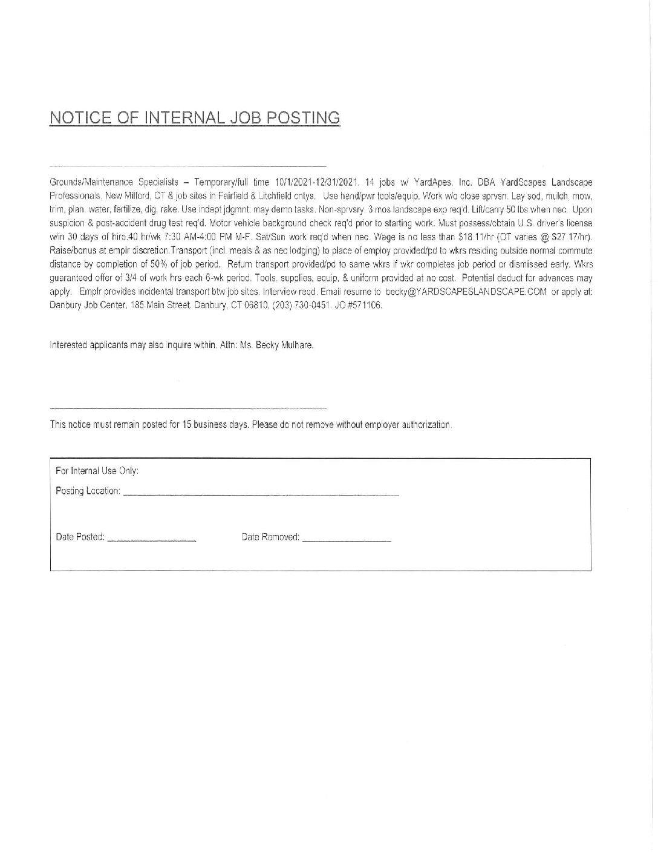 YardScapes Job Posting Fall 2021