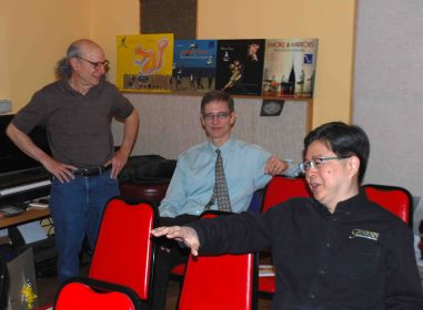 Elliot Midwood, our host at Acoustic Image, Bob and Gary Koh from Genesis during setup