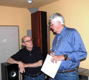 "Elliot Midwood, executive producer of Ciaramella Dances and owner of Acoustic Image, with Bill Harmsen, who along with his wife Ann sponsored and served as executive producer for Yarlung's first jazz LP, ""Sophisticated Lady,"" available now"