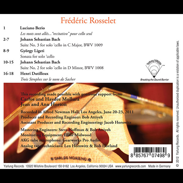 Frederic Rosselet Cellist | Yarlung Records