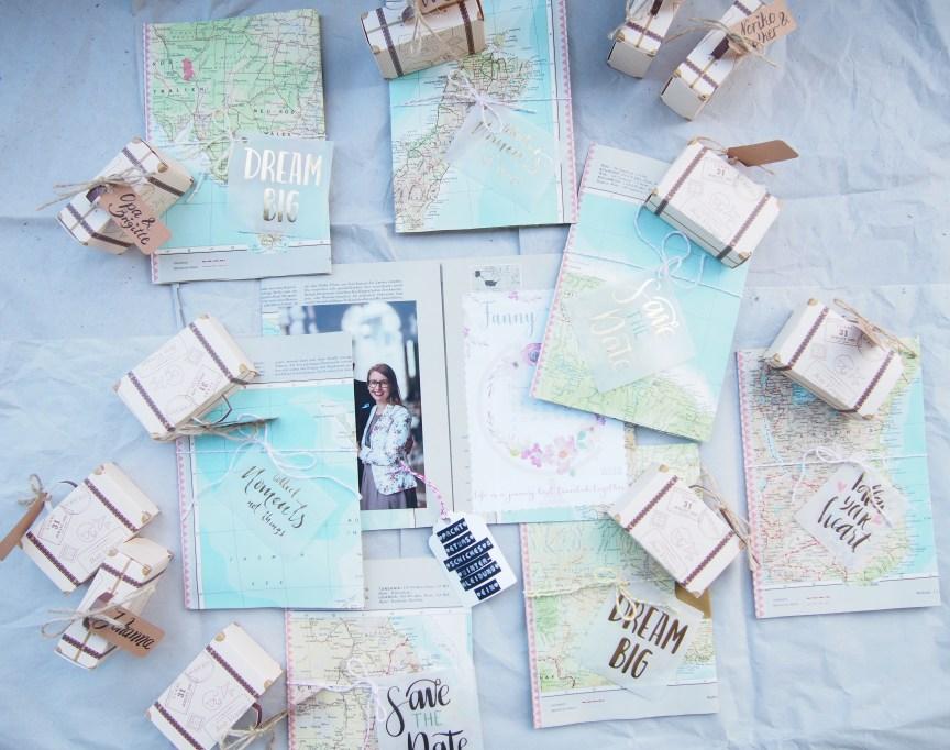 DIY, Hochzeitseinladung, Reisen, Atlaspapier, Einladung, selbst gebastelt