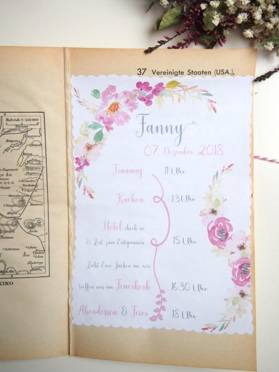 Ablaufplan, Hochzeit, Hochzeitstag, Ablauf, Blumen, basteln, DIY, Reisen, Vintage, Atlantenpapier, Blumen