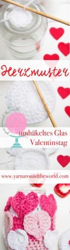 Valentinstag, häkeln, Herz, umhäkeltes Glas, DIY, Herzmuster, Anleitung, Pinterest