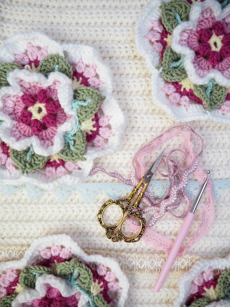 Einzelteile häkeln für Fridas Flowers Blanket