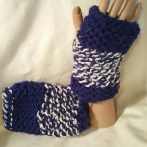 Navy Stripes Fingerless Mitts