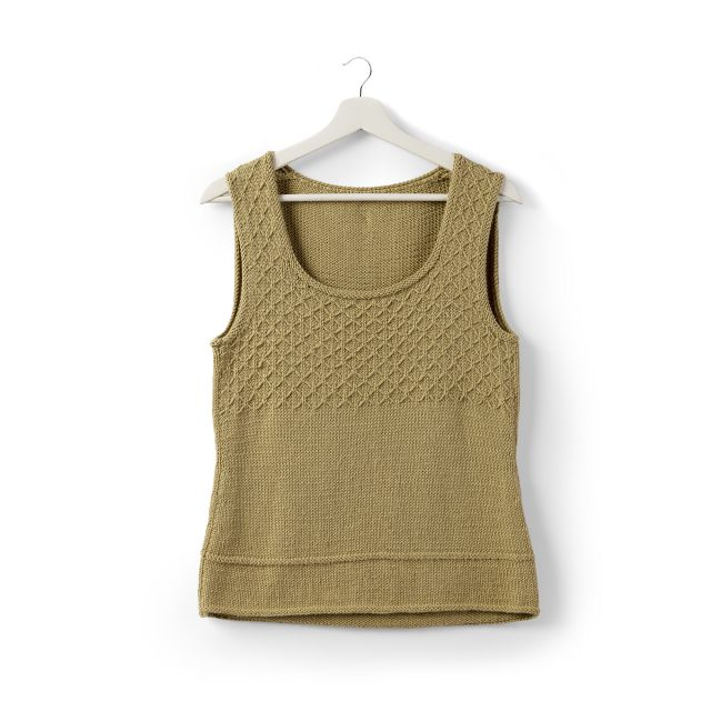 A tan colored knit singlet.