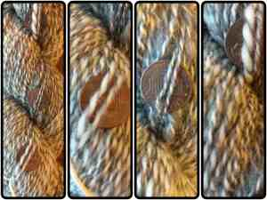 Three pennies in different parts of the same skein, so you can see the thick & thin.