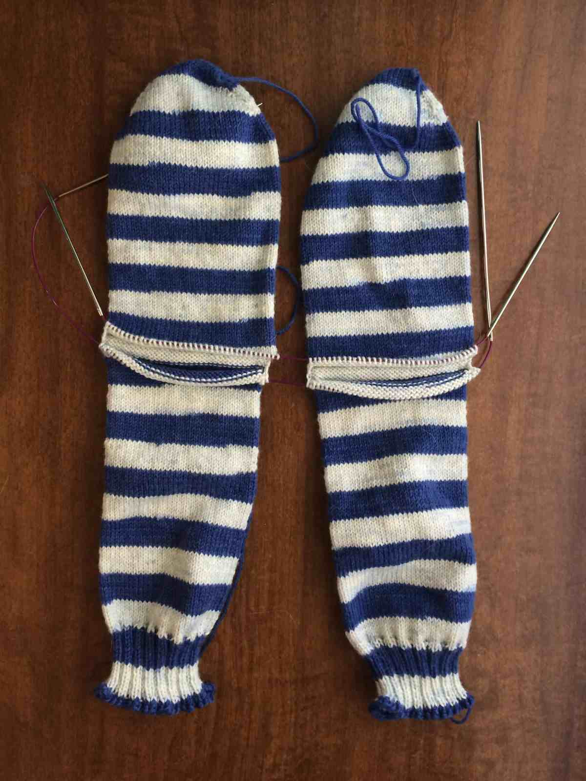 Plain Vanilla Socks, Toe Up Two at a Time on Two Circulars with Afterthought Heels