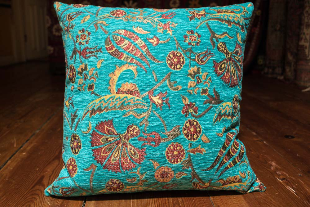 turkish small turquoise ottoman cushion cover 44x44cm