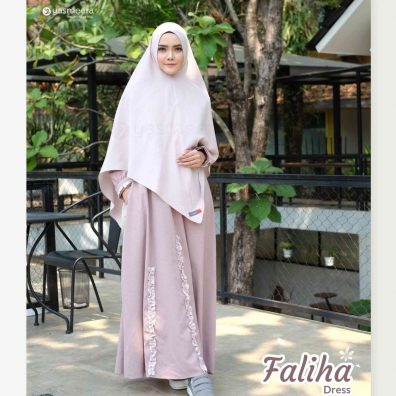 gamis yasmeera faliha dress peach
