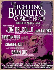 The poster for The Fighting Burrito Comedy hour @ PHIT