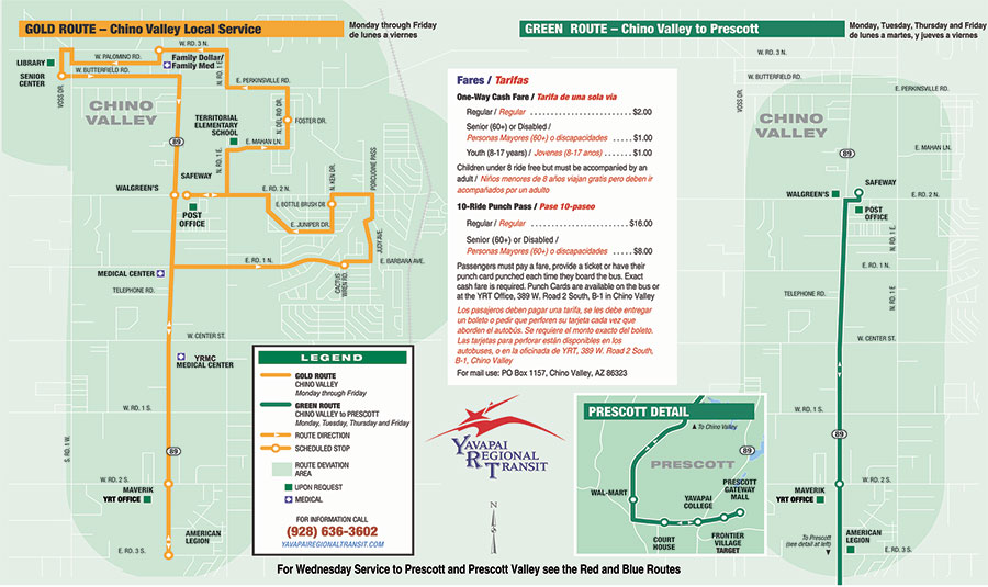 Green and Gold Route map